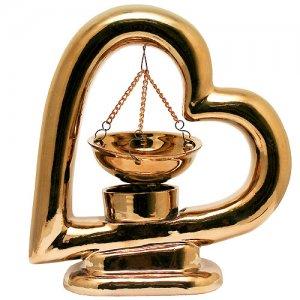 Аромалампа Сердце золотое 17 см