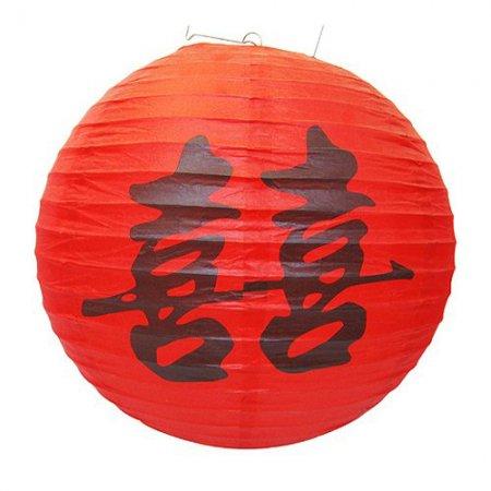 Фонарь из рисовой бумаги (красный с иероглифом)