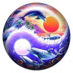 Дельфины внутри инь-ян (объемный талисман-наклейка (АртСимвол))