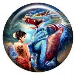Девушка и дракон (объемный талисман-наклейка (АртСимвол))